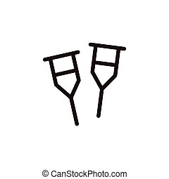Crutch icon sign - Crutch thin line icon isolated on beige...