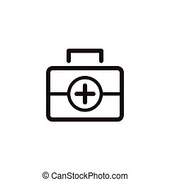 First aid kit icon - First aid kit thin line icon isolated...
