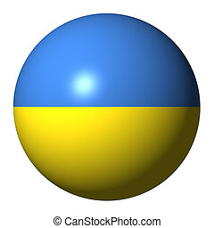 Ukraine flag sphere isolated on white illustration