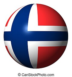 Norway flag sphere isolated on white illustration