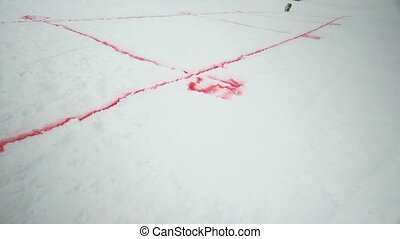 Red spray marking on snowboarding trail. Snowy mountain. Contest. Ski resort. Challenge. Competition