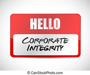 Corporate integrity name tag sign concept illustration...