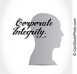 Corporate integrity thinking brain sign concept illustration...