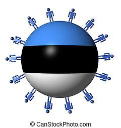 circle of abstract people around Estonia flag sphere illustration