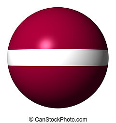 Latvia flag sphere isolated on white illustration
