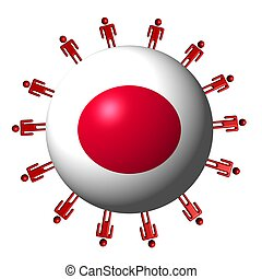 circle of abstract people around Japan flag sphere illustration
