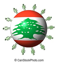 circle of abstract people around Lebanon flag sphere illustration