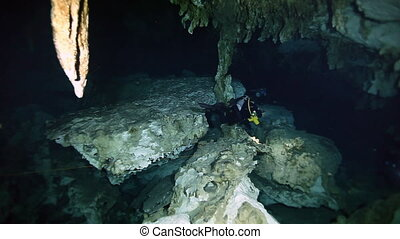 Underwater stalactites in Yucatan Mexican cenote. -...