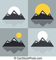 Mountain icons with sun and reflection. Mountain with snowy...