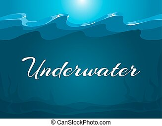 Deep blue moody underwater background. Abstract background...