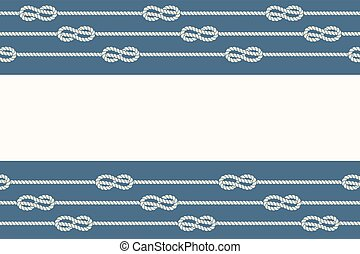 Marine ropes and knots borders frame