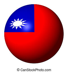 Taiwan flag sphere isolated on white illustration