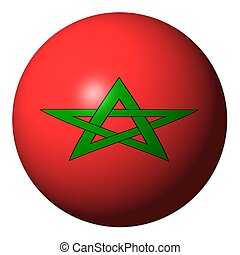 Morocco flag sphere isolated on white illustration
