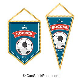Soccer pennants isolated white. Badge for sport club. Vector...
