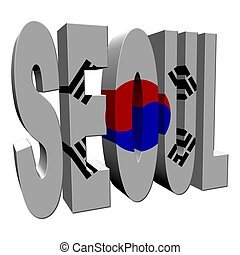 Seoul 3d text with South Korean flag on white illustration