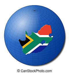 South Africa map flag on abstract globe illustration