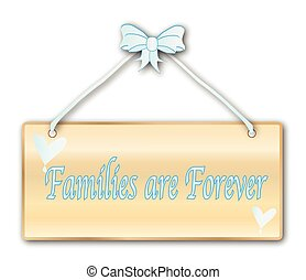 Families Are Forever plaque in woodgrain with light blue...