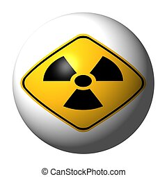 sphere with danger radiation sign on exterior illustration