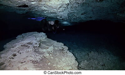 Underground fresh lake in Mexican Dos Ojos cenote. -...