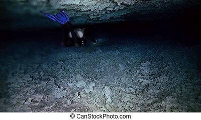 Underwater cave in Mexican Yucatan Dos Ojos cenote -...
