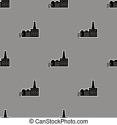 Seamless Grey Industrial Pattern Chemical Factory Icons
