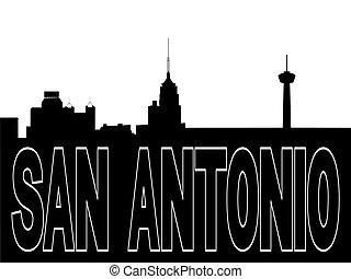 San Antonio skyline black silhouette on white