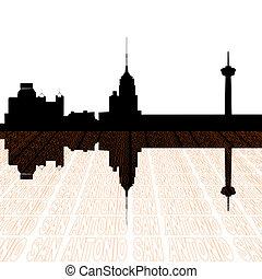 San Antonio skyline reflected - San Antonio skyline with...