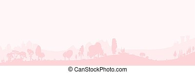 Pale Wooded Foreground - Silhouette of a wooded foreground...