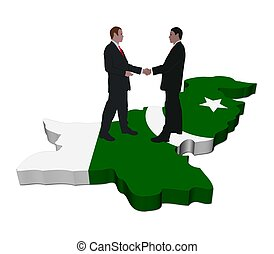 Business people shaking hands on Pakistan map flag...