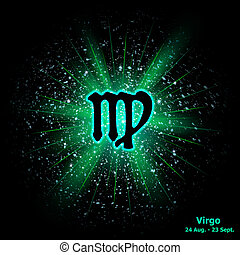 Zodiac sign Virgo on cosmic explosion background. Vector...