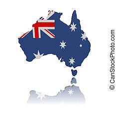 Australia map flag 3d render with reflection illustration