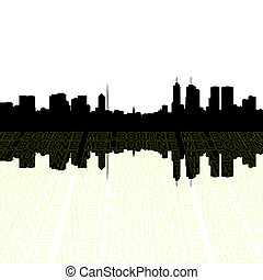 Melbourne skyline with perspective text outline foreground