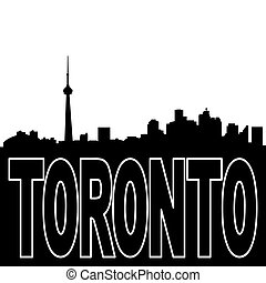 Toronto skyline black silhouette on white illustration
