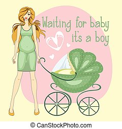 Illustration of a pregnant girl waiting for  boy toddler.