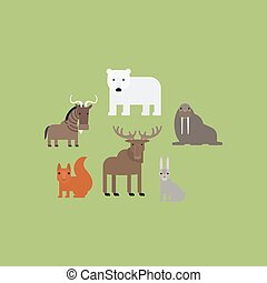 Different animals flat icons set - Different animals flat...