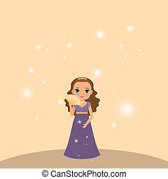 Beautiful cartoon princess with lights on the beige...