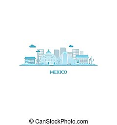 Mexico cityscape silhouette in blue colors Vector...