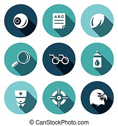 Vector Set of Human Vision Icons - Eye, Test, Magnifier...