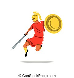 Vector Spartan Warrior Cartoon Illustration. - Man with a...