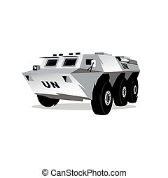 Vector Armored troop-carrier Cartoon Illustration. - Wheeled...