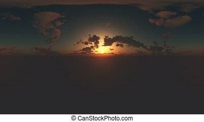 360 degree Panoramic Sky and Clouds at sunset. ready for use...
