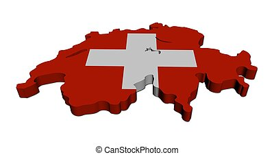Switzerland map flag 3d render on white illustration