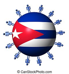 circle of abstract people around Cuba flag sphere...