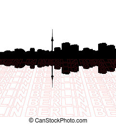 Berlin skyline with perspective text outline foreground