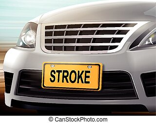 Stroke words on license plate, brand new silver car over...