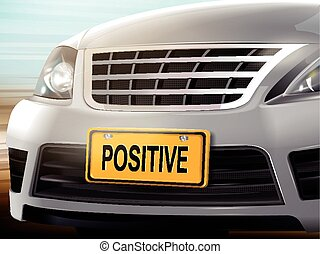 Positive words on license plate, brand new silver car over...