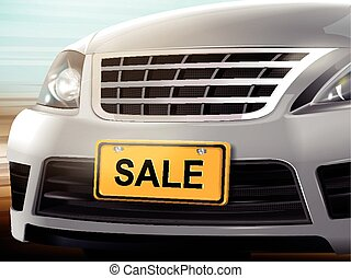 Sale words on license plate, brand new silver car over...