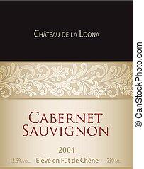 Vector template of white wine label Cabernet Sauvignon. On...