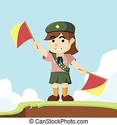 scout girl playing semaphore