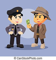 mafia bribing police illustration design